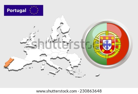 Map of European Union countries, with every state easy selectable and editable. Portugal. Vector - Portugal Flag Glossy Button - stock photo
