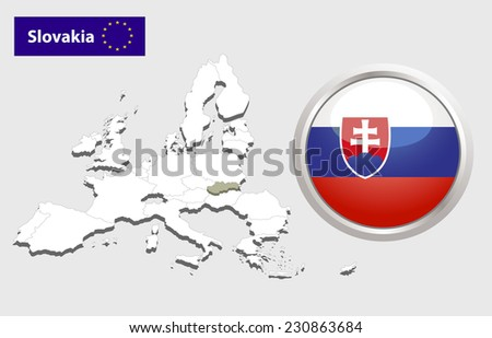 Map of European Union countries, with every state easy selectable and editable. Slovakia.  - Slovakia Flag Glossy Button - stock photo