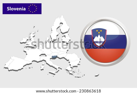 Map of European Union countries, with every state easy selectable and editable. Slovenia .  - Slovenia Flag Glossy Button - stock photo
