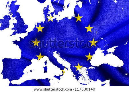 Map of European Union with flag of EU, isolated on white - stock photo