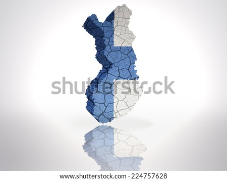 Map of Finland with Finnish Flag on a white background - stock photo