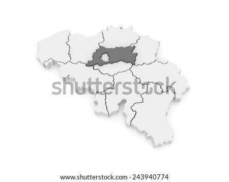 Map of Flemish Brabant. Belgium. 3d - stock photo