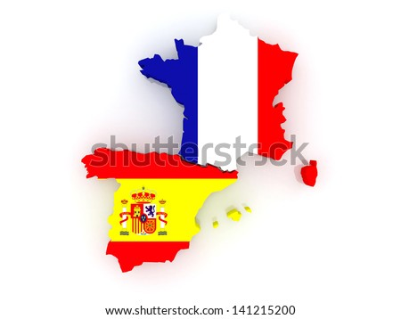 Map of France and Spain. 3d - stock photo