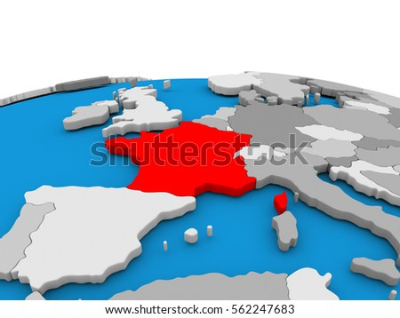 Map france highlighted red on simple stock illustration 562247683 map of france highlighted in red on simple globe 3d illustration gumiabroncs Images