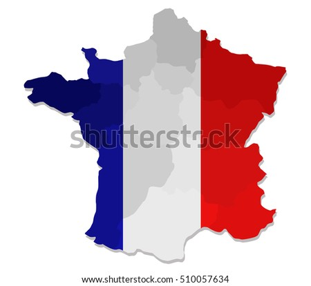 map of france with flag and regions