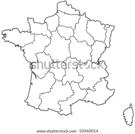 map of france with territories of administrative divisions - stock photo