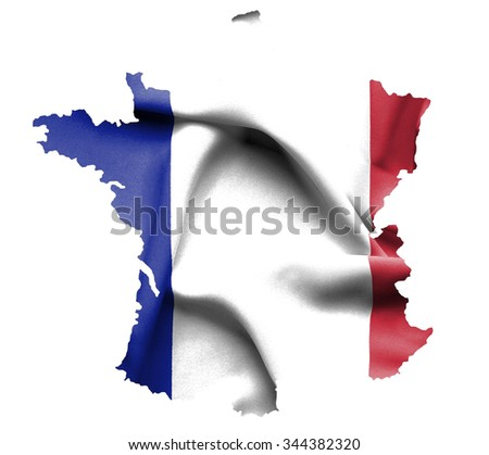 Map of France with waving flag isolated on white - stock photo
