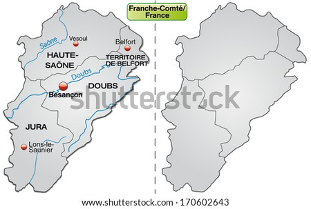 Map of Franche-Comte with borders in gray