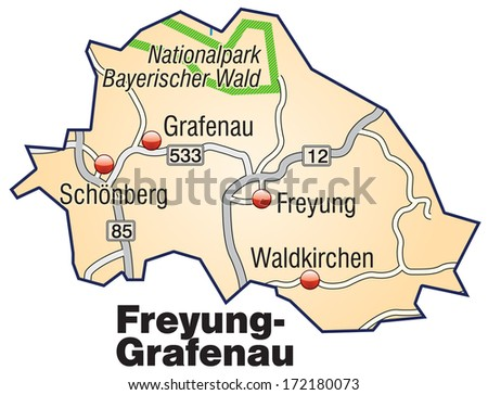 Map of Freyung Grafenau with highways in pastel orange
