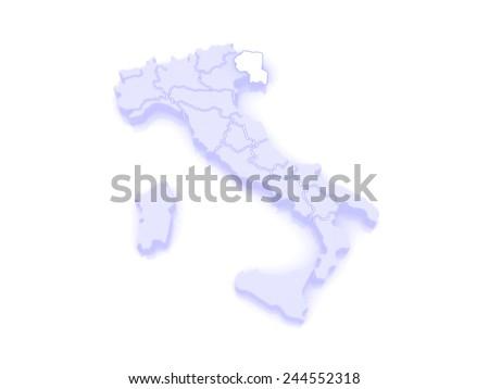 Map of Friuli-Venezia Giulia. Italy. 3d - stock photo
