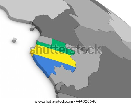 Map of Gabon with embedded national flag. 3D illustration
