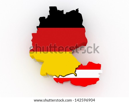 Map of Germany and Austria. 3d