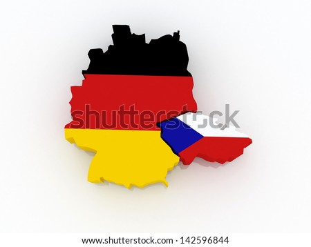 Map of Germany and the Czech Republic. 3d