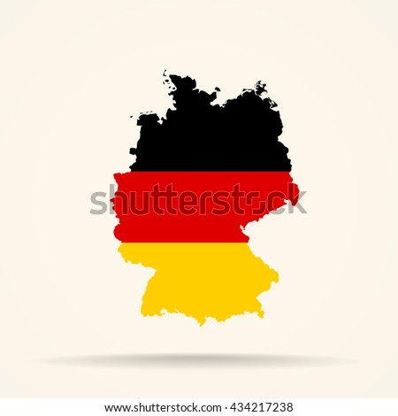 Map of Germany in Germany flag colors
