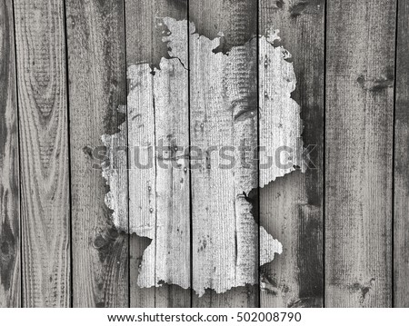 Map of Germany on weathered wood