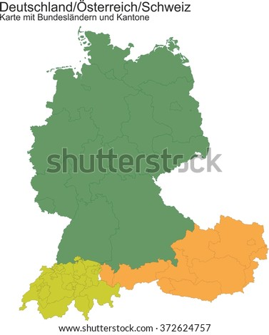 map of germany switzerland austria with provinces or cantons