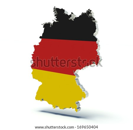 Map of Germany with flag colors. 3d render illustration.