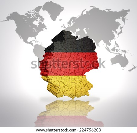 map of germany with german flag on a world map background