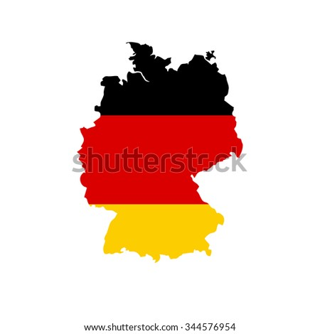 Map of Germany with national flag isolated on white background