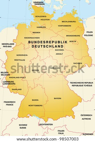 map of germany with neighboring countries