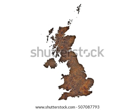 Map of Great Britain on rusty metal