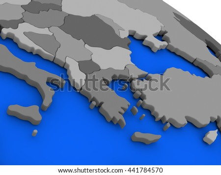 Map of Greece on 3D model of Earth with countries in various shades of grey and blue oceans. 3D illustration - stock photo
