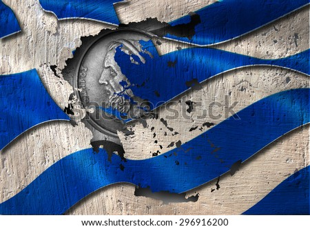 Map of Greece with image of Drachma coin on Greek flag - stock photo