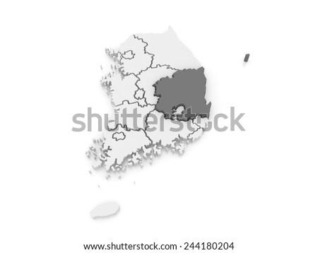 Map of Gyeongsang. South Korea. 3d - stock photo