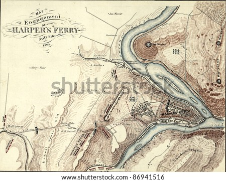 Map of Harper's Ferry, West Virginia in 1864,  from Report of  the 2nd Corps, Army of Northern Virginia, published 1864. - stock photo