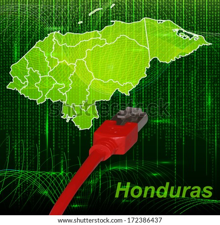 Map of Honduras with borders in network design