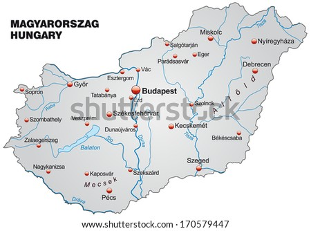 Map of Hungary as an overview map in gray