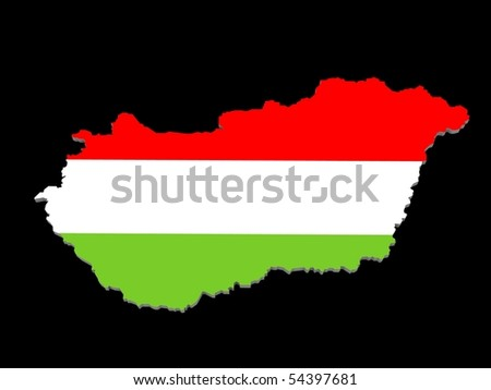 map of hungary on a black background