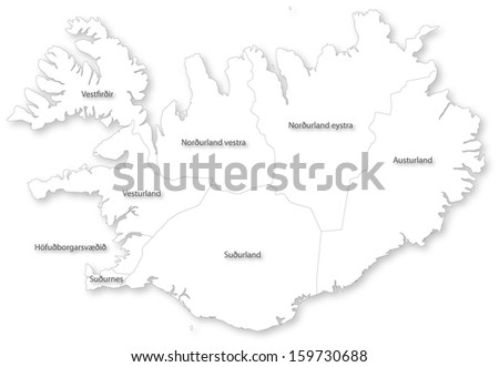 Map of Iceland with regions on white. Projected in WGS 84 World Mercator (EPSG:3395) coordinate system. - stock photo
