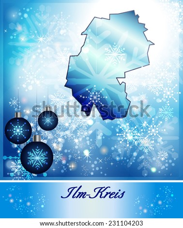 Map of Ilm-Kreis in Christmas Design in blue