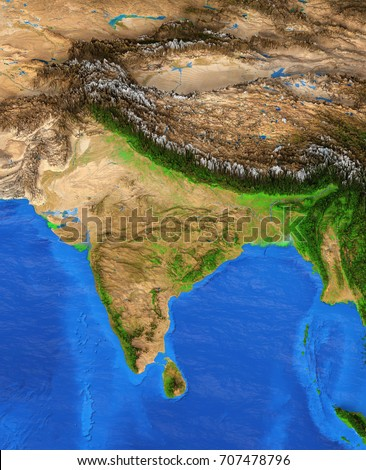Map India Detailed Satellite View Earth Stock Illustration - Earth map satellite