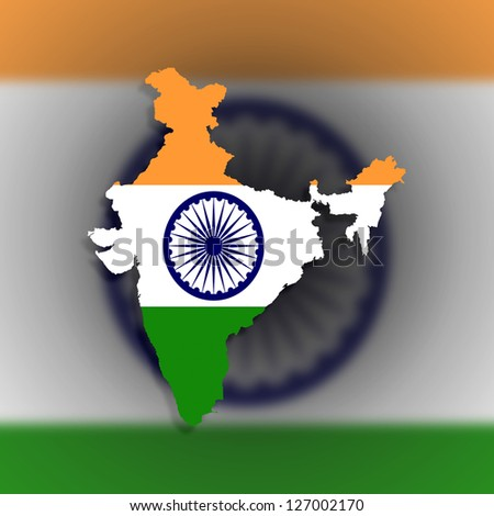 Map of India filled with flag, isolated - stock photo