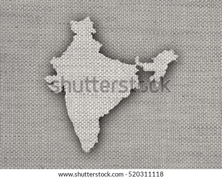 Map of India on old linen