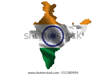 Map of India with national flag on fabric surface.