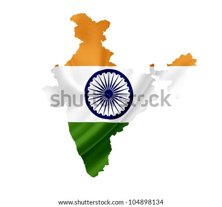Map of India with waving flag isolated on white - stock photo