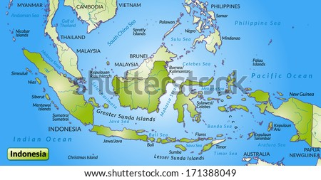 Map Indonesia Overview Map Green Stock Illustration 171388049