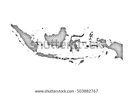Map of Indonesia on old linen