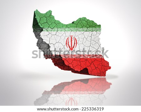 map of iran with iranian flag on a white background