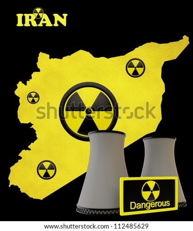 Map of Iran with with the radiation hazard symbol