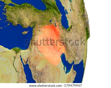 Map of Iraq in red on planet Earth. 3D illustration with detailed planet surface. Elements of this image furnished by NASA.