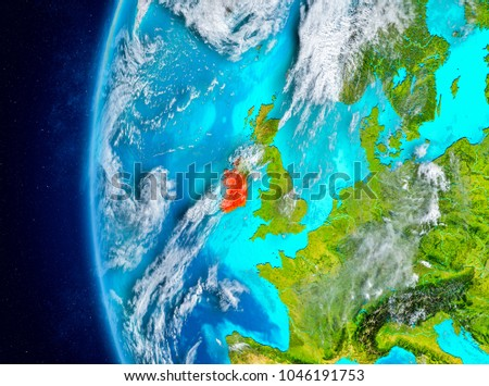 map of ireland as seen from space on planet earth with clouds and atmosphere 3d