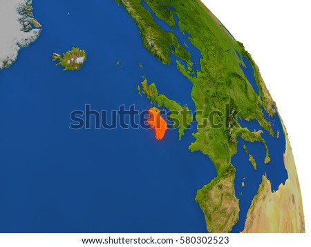 Map of Ireland with surrounding region on planet Earth. 3D illustration with highly detailed planet surface. Elements of this image furnished by NASA.