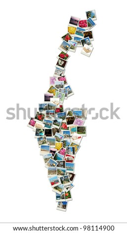 Map of Israel,collage made of travel photos with famous landmarks - western wall,omar mosque,bahai temple, all photos are my own - stock photo