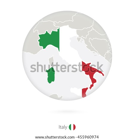 Map of Italy and national flag in a circle. Raster copy.