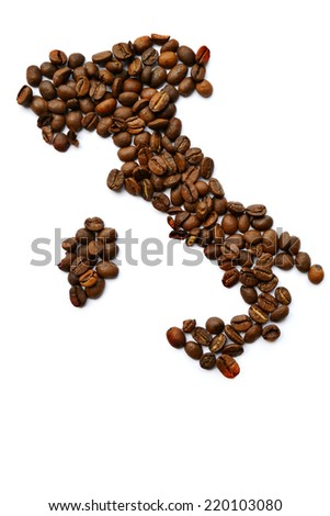 Map of Italy made from coffee beans