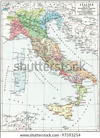 "Map of Italy, the time of Emperor Augustus. Publication of the book ""Meyers Konversations-Lexikon"", Volume 7, Leipzig, Germany, 1910 - stock photo"